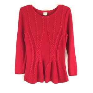 CUPIO Red Metallic Sweater L